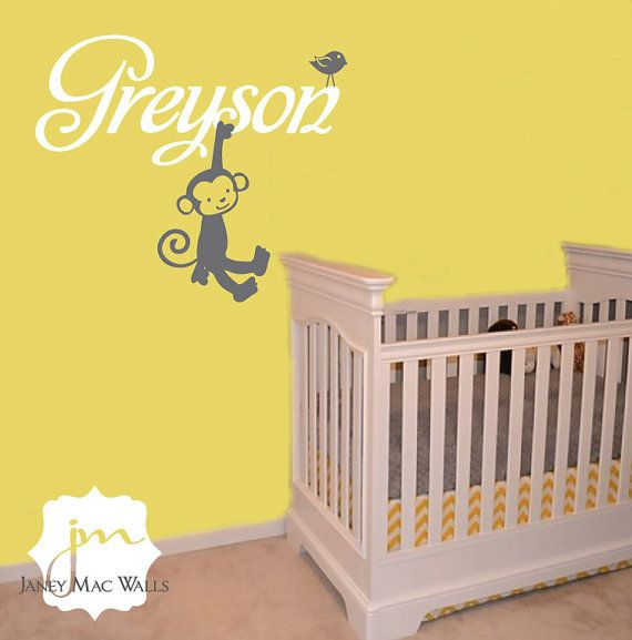 Monkey Makeover: Name with Monkey Wall Decal - Children\'s Bedrom ...