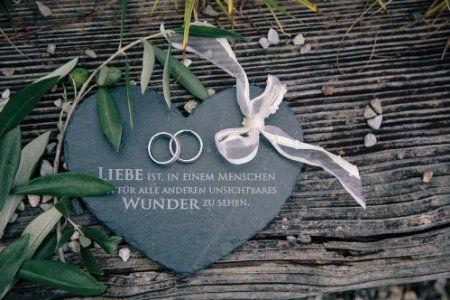 Ringkissen Herz aus Schiefer - Traukissen Eheringe Kissen Kirche