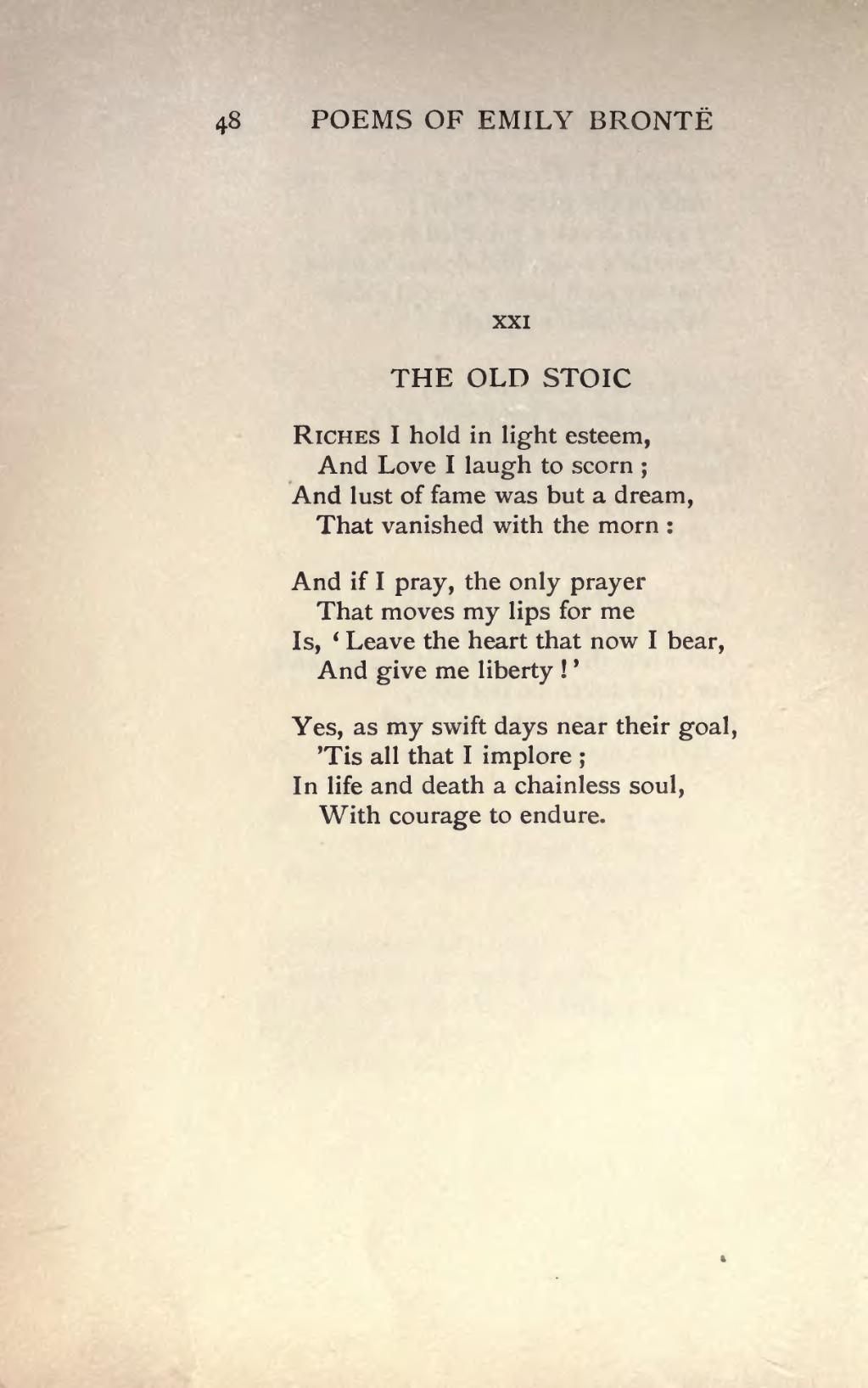 Poem The Old Stoic By Emily Bronte Littratures Poems
