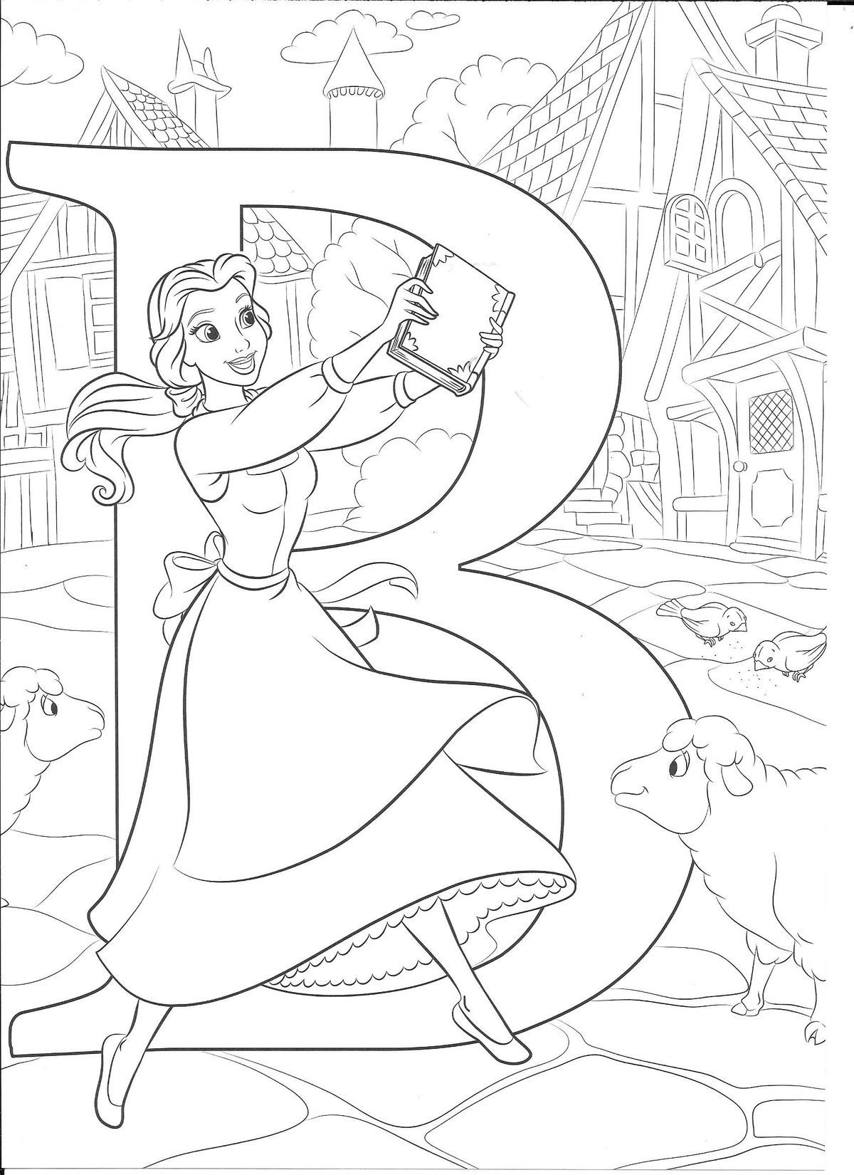 Pin By Mini On Alphabet Coloring Sheets Belle Coloring Pages Disney Princess Coloring Pages Disney Coloring Sheets