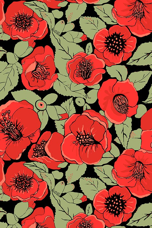 Colorful Fabrics Digitally Printed By Spoonflower Red Floral Summer Flower Garden Floral Illustrations Red Camellia Flower Red Flowers Coolest bell flower wallpaper