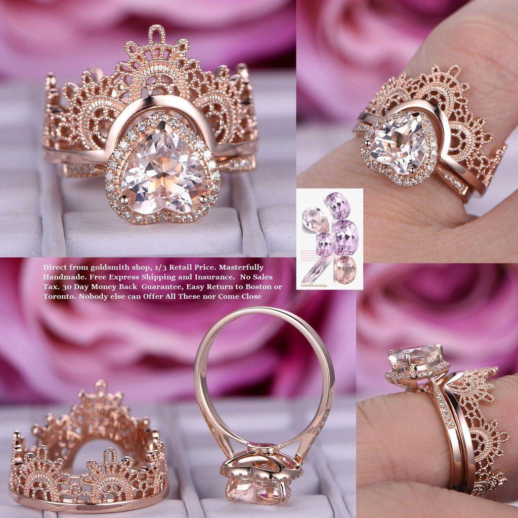 Heart Morganite Engagement Ring Sets Tiara Wedding Ring 14K Rose ...