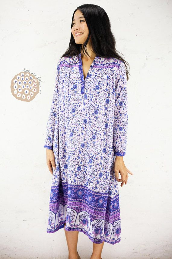 62fb4ab108 Krishna Vintage Indian Gauze Cotton Long Sleeve Shirt Dress, 70s ...