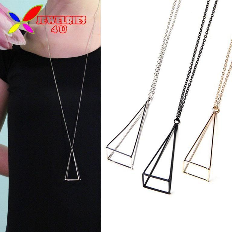 2016 Nieuwe Mode Goud Zilver Zwarte Kubus Driehoek Lange Valse Kraag Voor Vrouwen Kettingen accessoires kraag bijoux