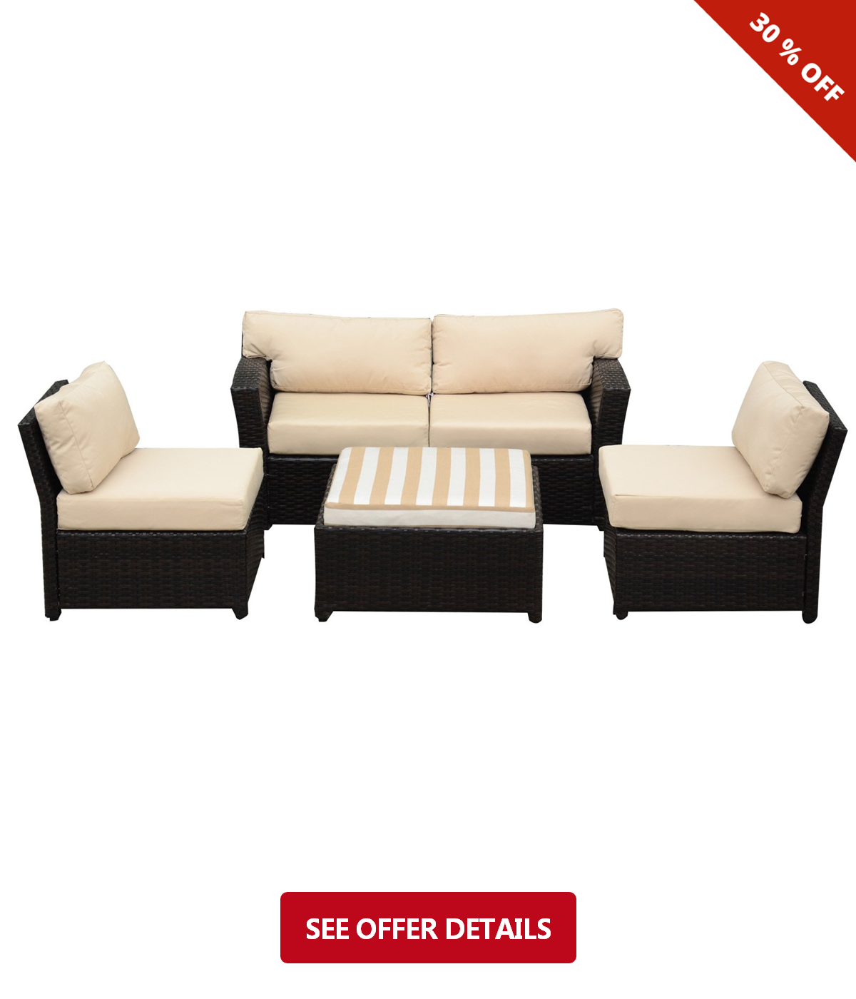 Fabulous 469 Caymus 5 Piece Rattan Wicker Sectional Sofa Set Creativecarmelina Interior Chair Design Creativecarmelinacom