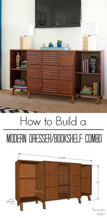 How To Build A Space Saving Modern Dresser Bookshelf Combo With Free Building Plans Dresser Bookshelf Diy Furniture Plans Mid Century Modern Furniture Diy