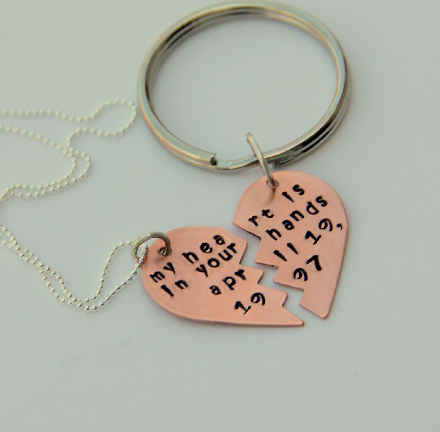 His Hers Personalized Gift And Keychain Love Necklace Best Friend
