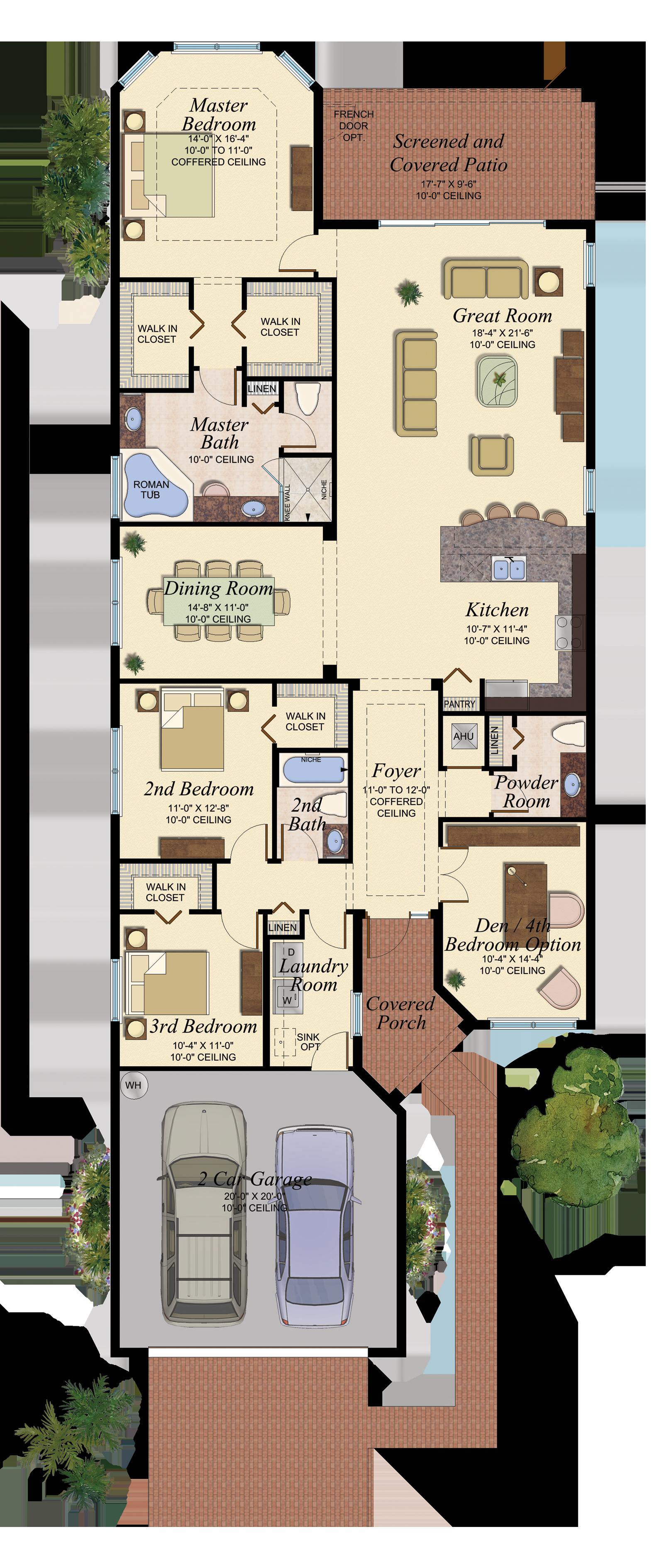 Gl Homes Model House Plan Narrow House Plans Mediterranean House Plans