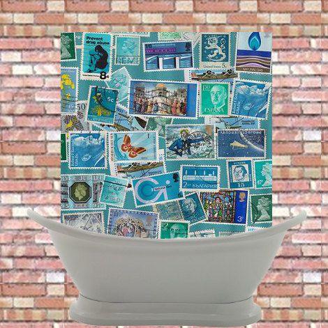 Artistic Shower Curtain -Postage Bleu , philately, unique, blue postage, unique, world ,colorful, decor, home #stamps #blue #postage #shower #curtain #decor