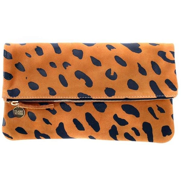 Clare Vivier FOLDOVER CLUTCH in Jaguar Print with Black Zipper Tape ($180) ❤ liked on Polyvore