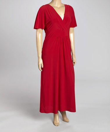 Look at this #zulilyfind! Red Surplice Maxi Dress - Plus #zulilyfinds