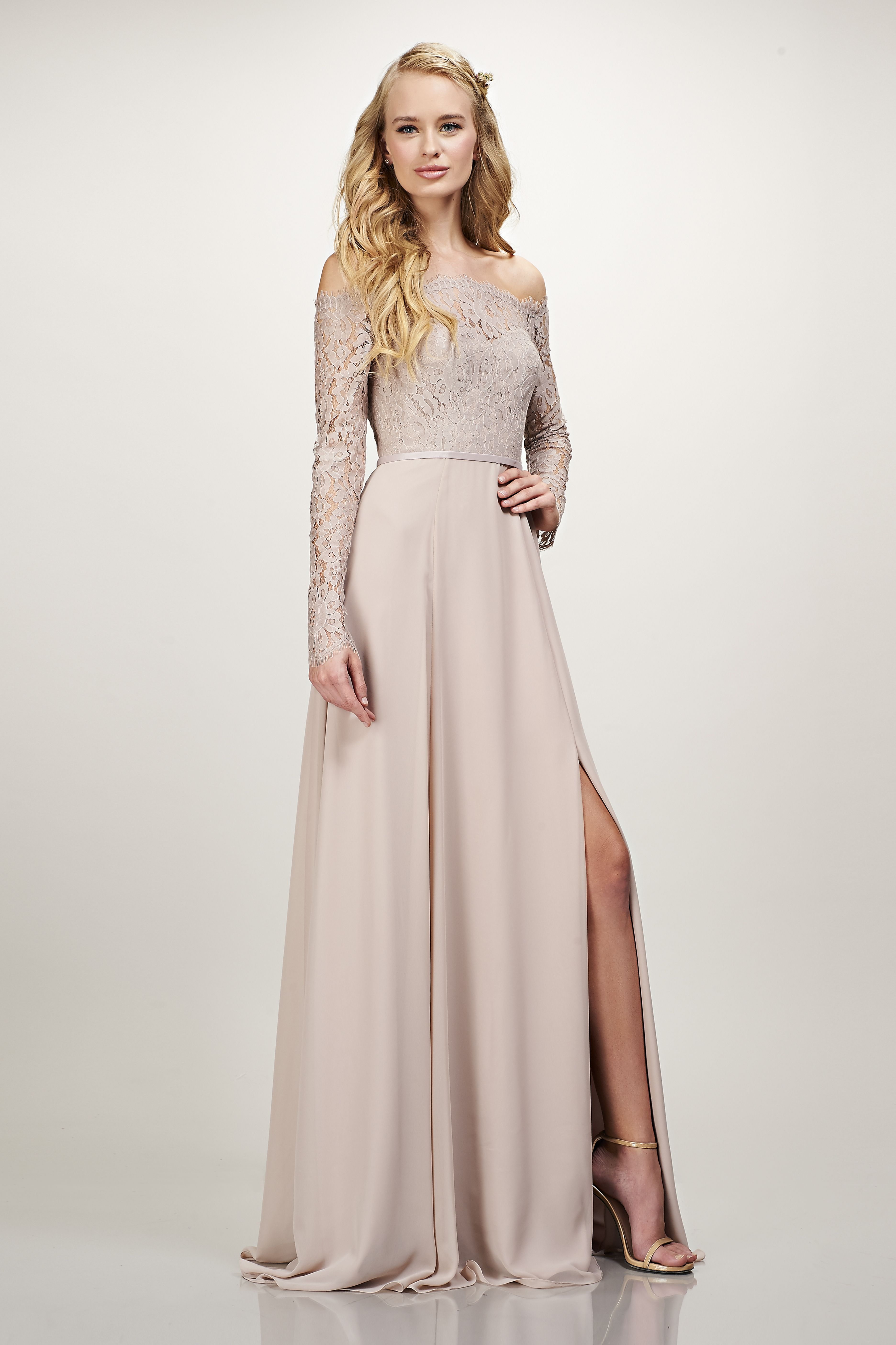 Isabel Theia Bridesmaid Dresses Neutral Bridesmaid Dresses Long Sleeve Bridesmaid Dress [ 5616 x 3744 Pixel ]