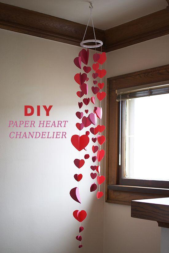Diy Paper Heart Chandelier Valentine S Day Decor Inspired To Share Diy Valentine S Day Decorations Valentine S Day Diy Diy Valentines Decorations