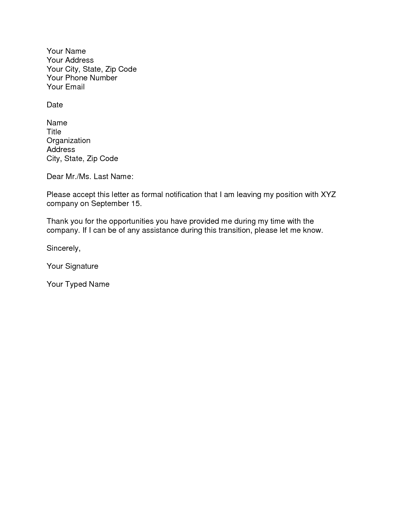 Resignation Letter Email Format Infant Caregiver Cover Sample