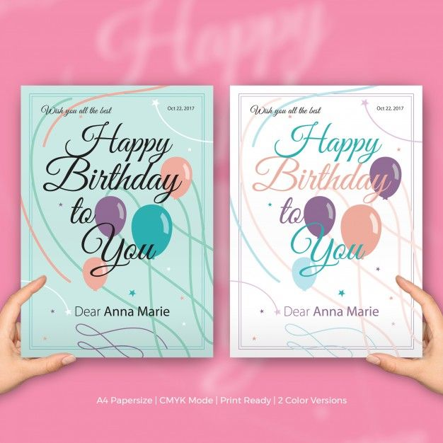 Happy Birthday Card Design Template File Info A4 Papersize CMYK Mode EPS Vector Compatible With Adobe Ilustrator And CorelDRAW Editable Text