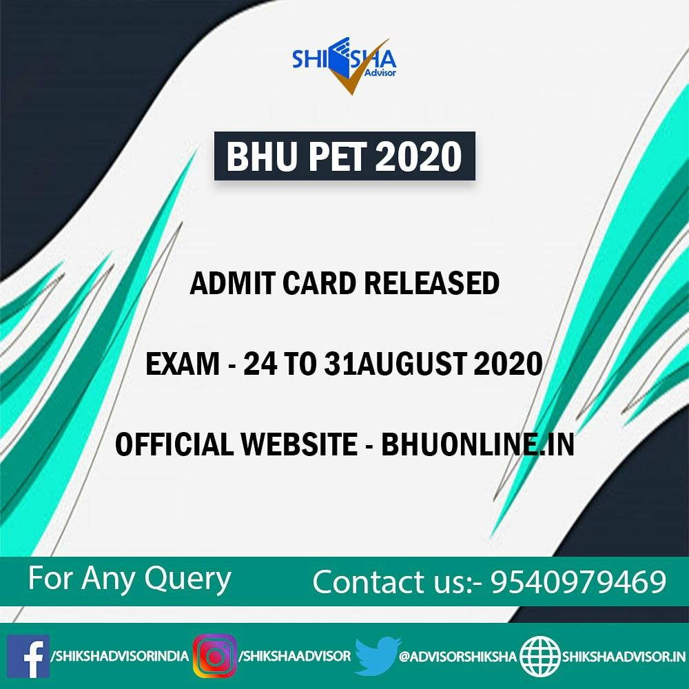 Bhu Pet 2020 Admit Card Released In 2020 Career Guidance Graduation Post Central University