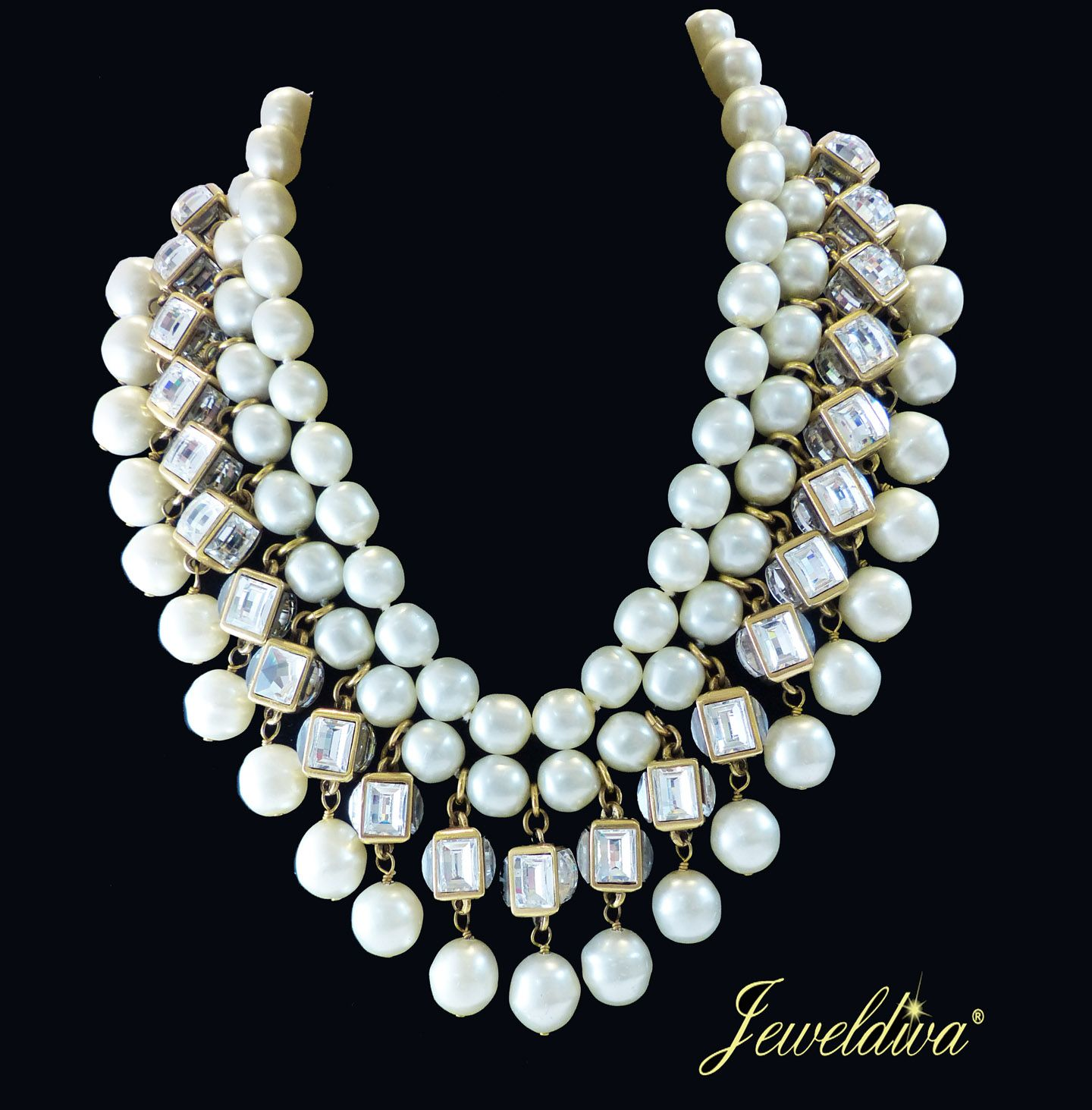 ec957e79e486 Vintage Signed Chanel 23 Multi-Strand Faux Pearl Necklace http   www ...