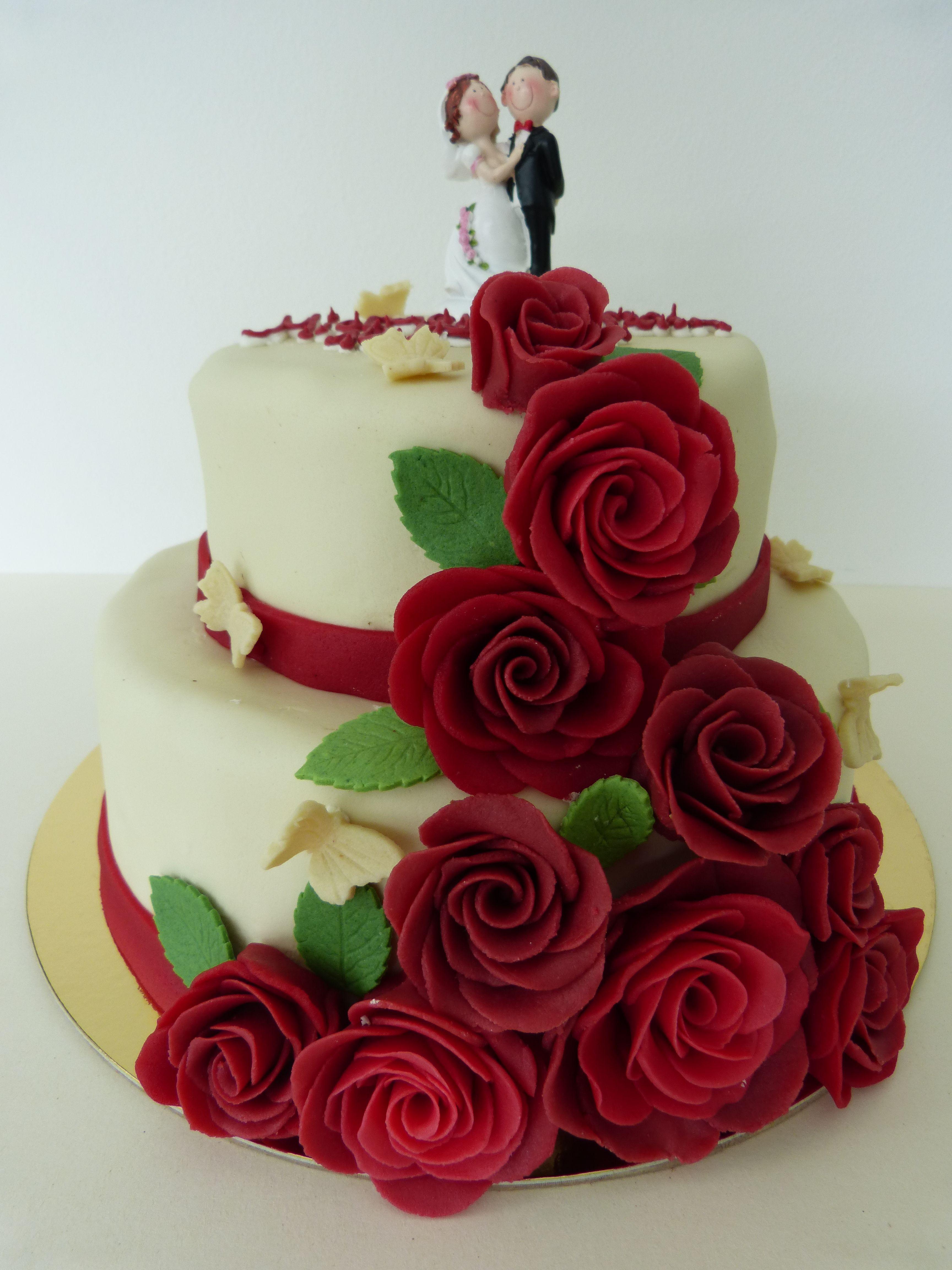 Weddingcake Hochzeitstorte Marzipanrosen Cake Cube Konz