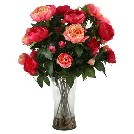 Faux peony in pink and burgundy with a glass vase. Made in the USA.  Product: Faux floralsConstruction Material: