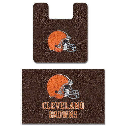 Cleveland Browns Two Piece Bath Rug Set Browns Man Cave Brown Bath Mat Bath Mat Sets Bathroom Rugs