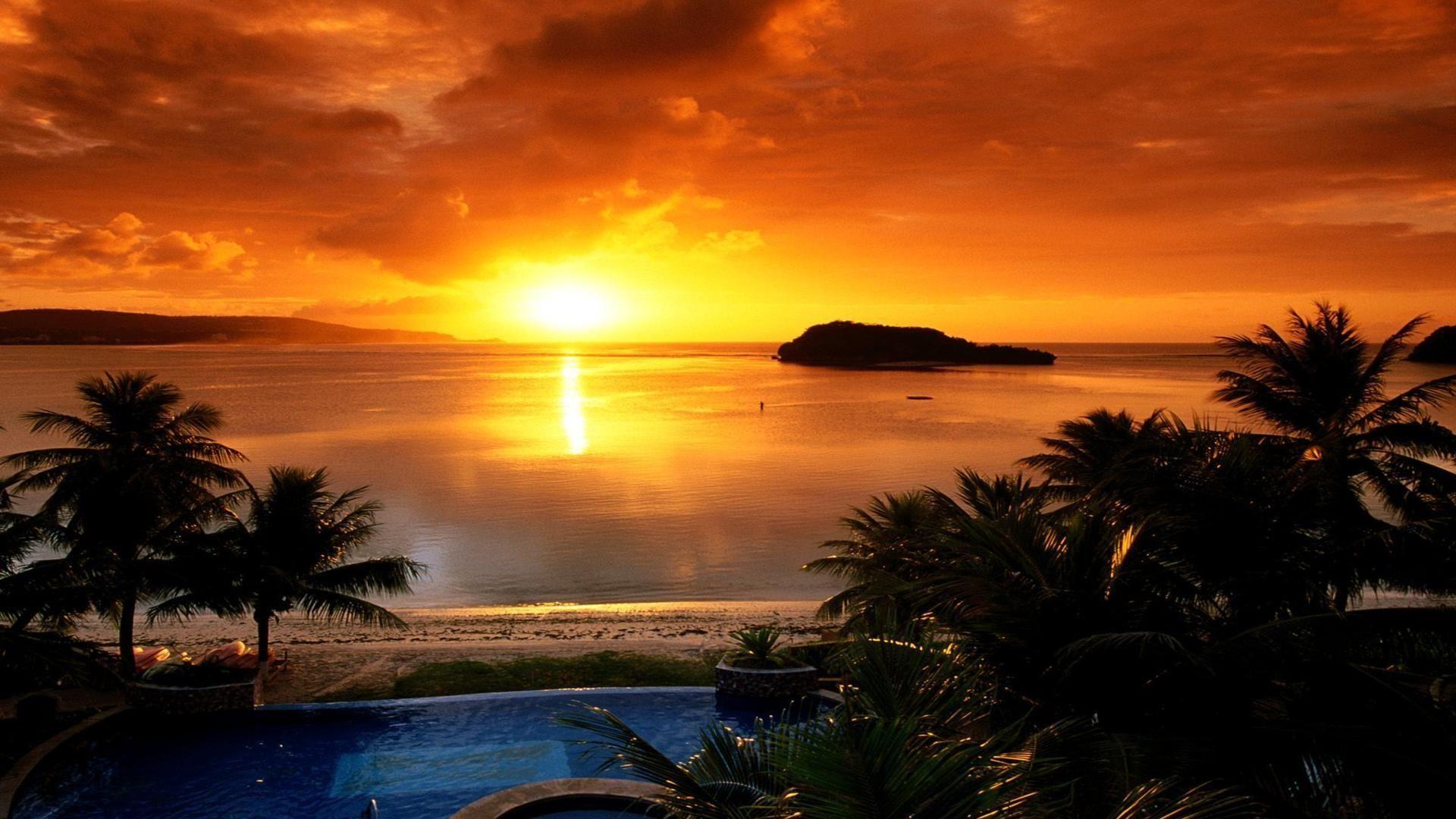 Agana bay at sunset tamuning Guam scenic free desktop