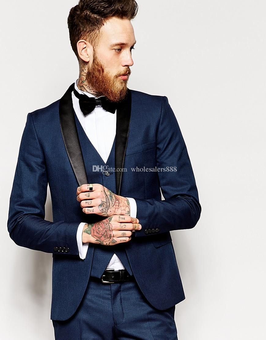 Side Vent Slim Fit Groom Tuxedos Shawl Collar Men'S Suit Navy Blue ...
