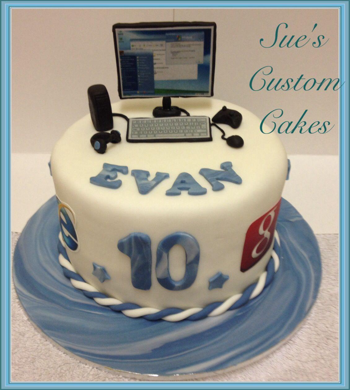 PC Birthday Cake Fondant PC, Computer, Miniature, Edible