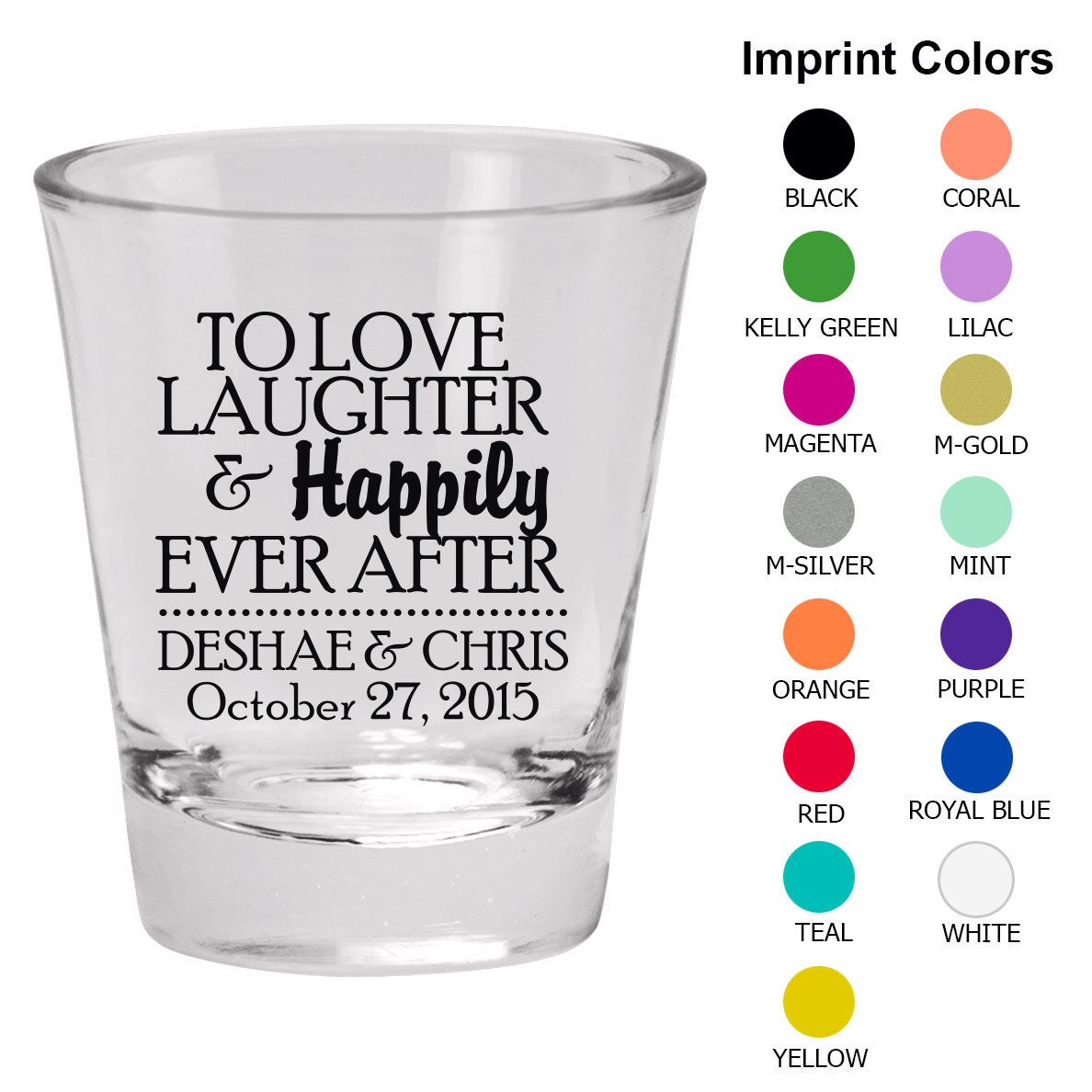 Wedding Shot Glasses (Clipart 1870) Love Laughter Happily Ever After ...