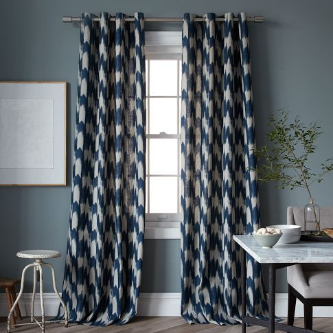 Painted Ikat Print Curtain Curtains Living Room Printed