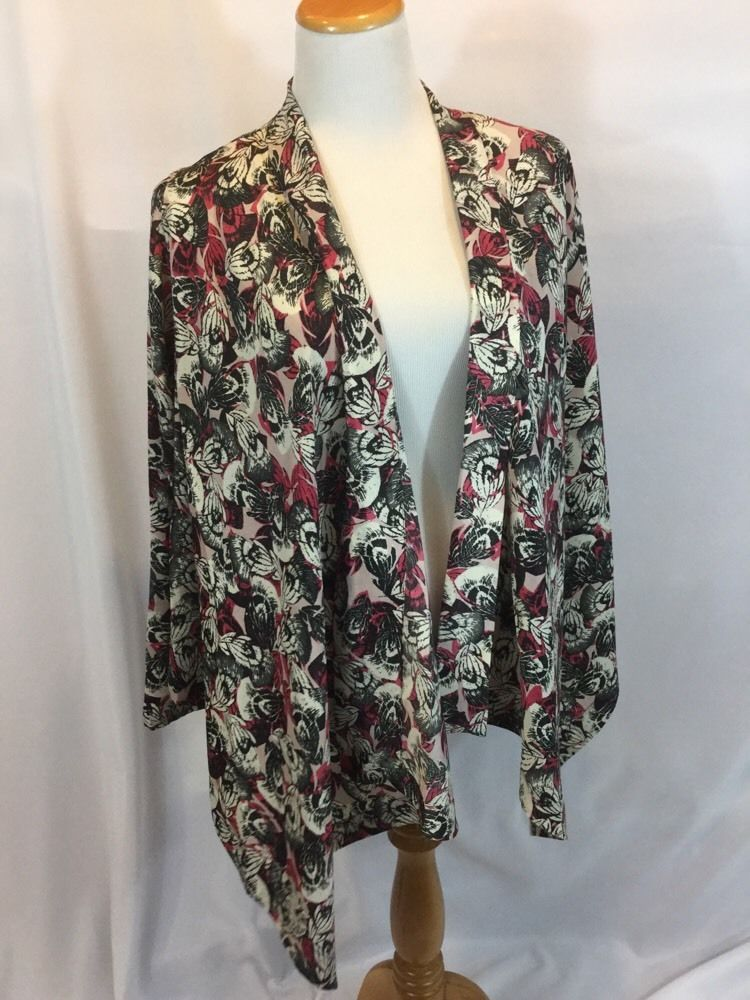 NICOLE RICHIE COLLECTION Print Relaxed Silky Feel Cascade Jacket Pink XS EUC #NicoleRichie #CascadeJacket
