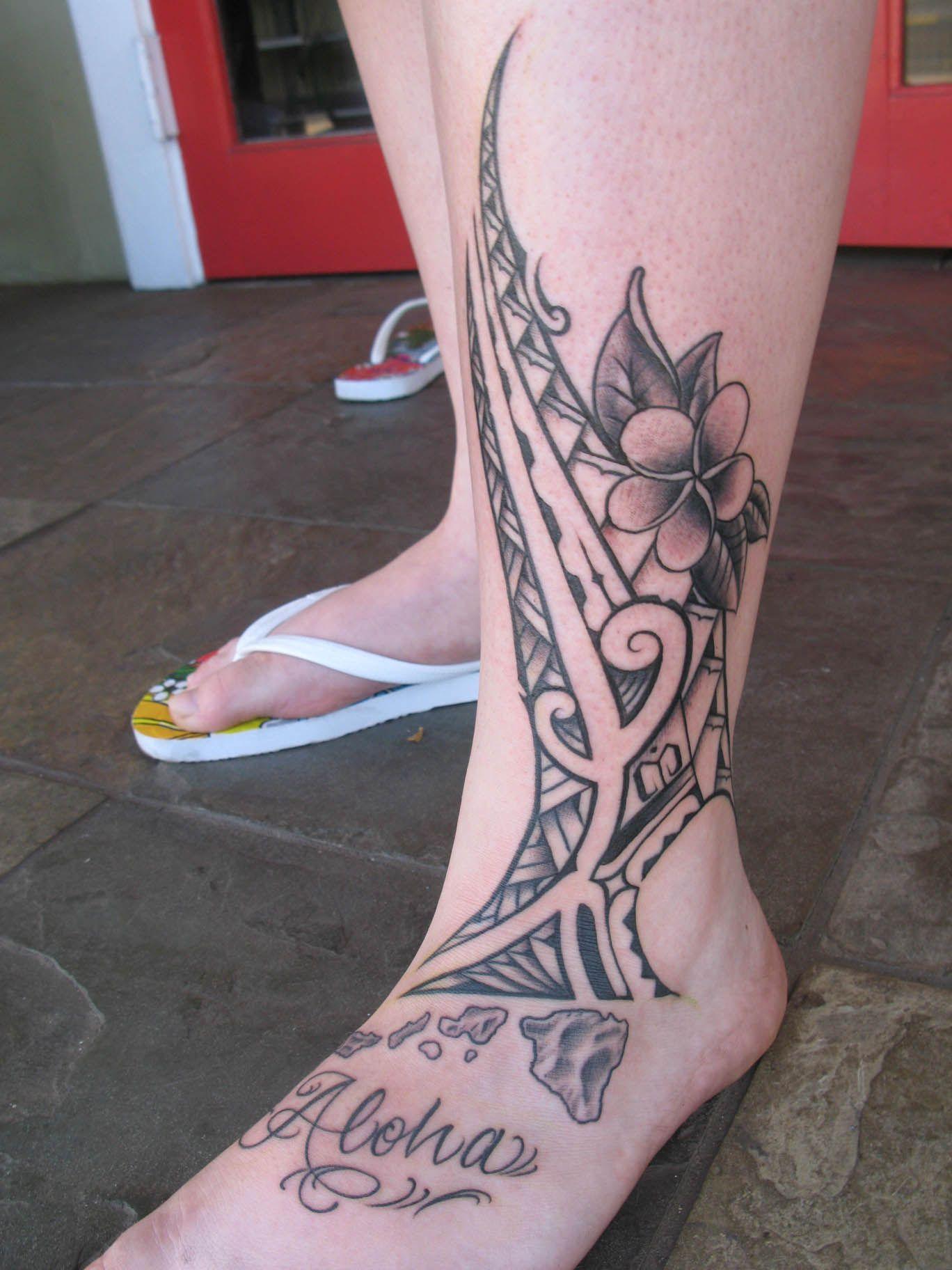 Pretty Custom Polynesian Tattoo Design with Plumeria Hawaiian