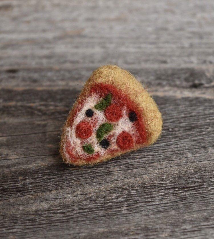Combo Pizza Pin, Needle Felted - 100% Merino Wool Unique Accessory #needlefelting