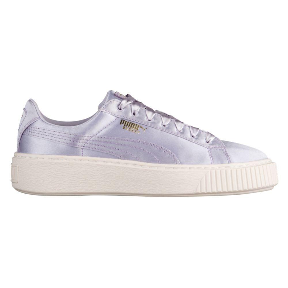 PUMA Basket Platform Satin Sneakers Thistle Silver Creepers Shoes Sneaker  8.5  9c939b08d6e5