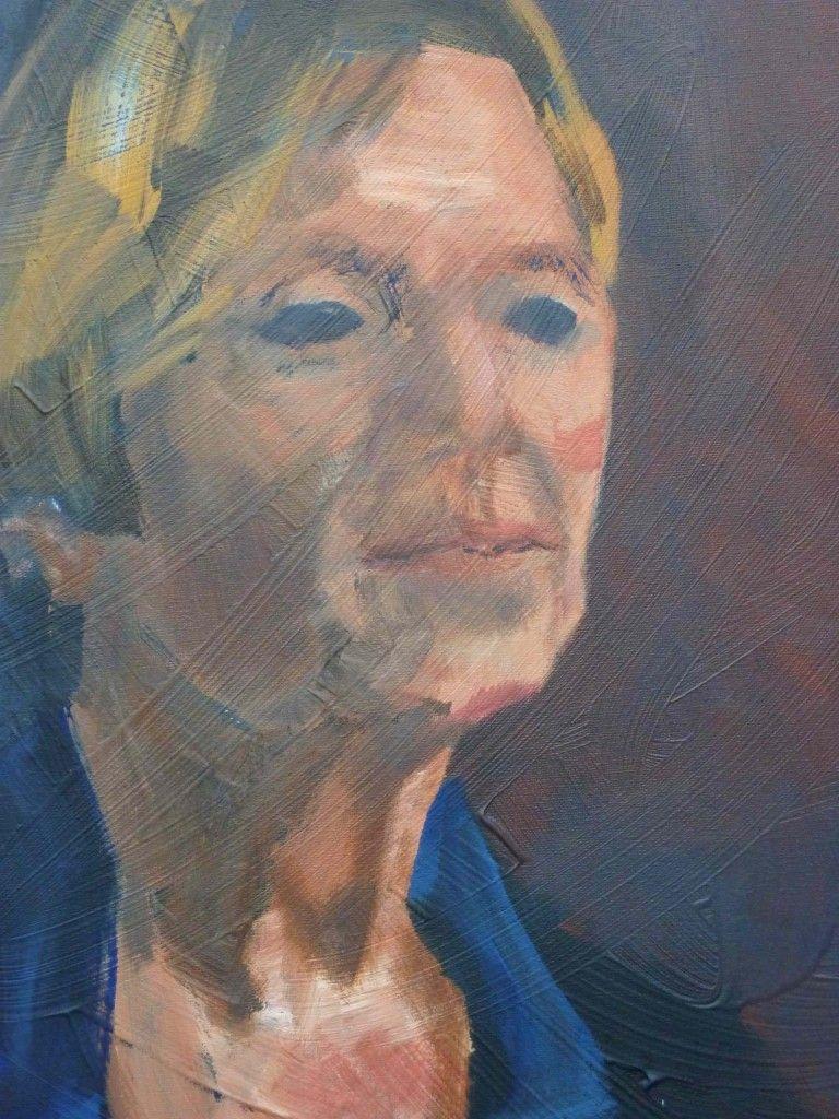 "Kemp 2011 ""Anna 3"" 50x60cm, acrylic on canvas, €330 Werkvankemp.nl #portrait #porträt #portret  #oilpainting #olieverf #öl #blue #red #impressionist #lossetoets"