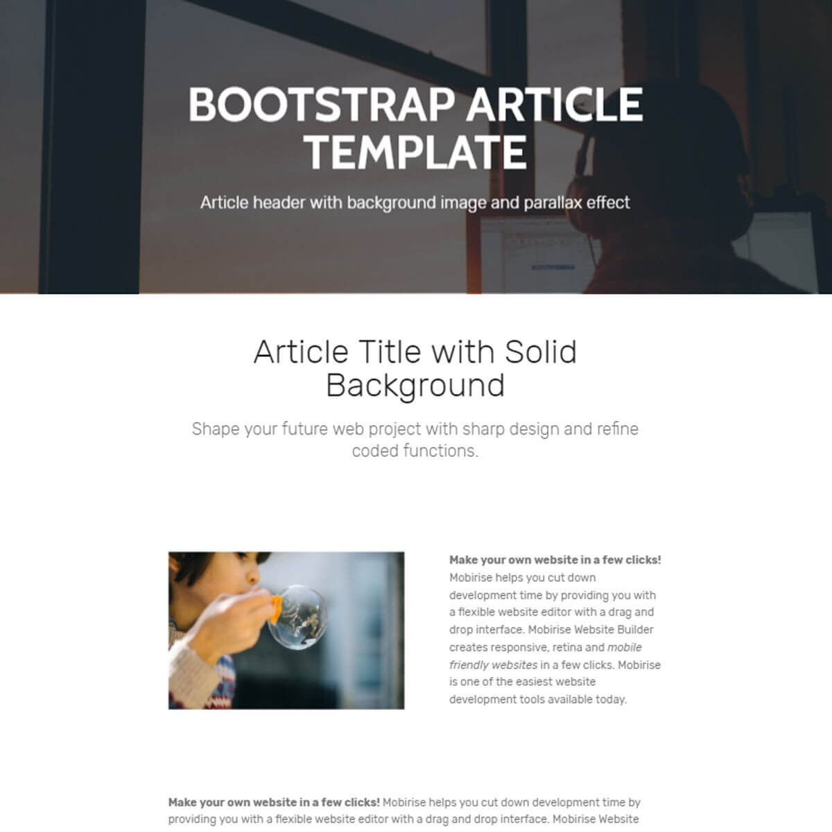 Bootstrap Article Template – Free Download