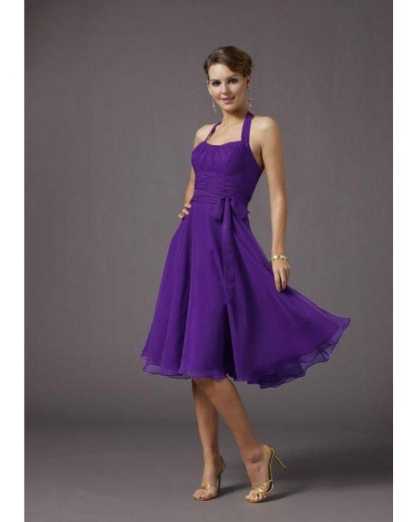 Short Purple Halter Bridesmaid Dresses
