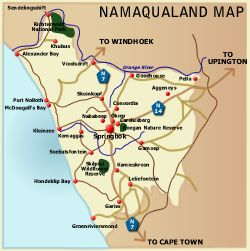 Namaqualand map. Area from Garies to the Orange river border