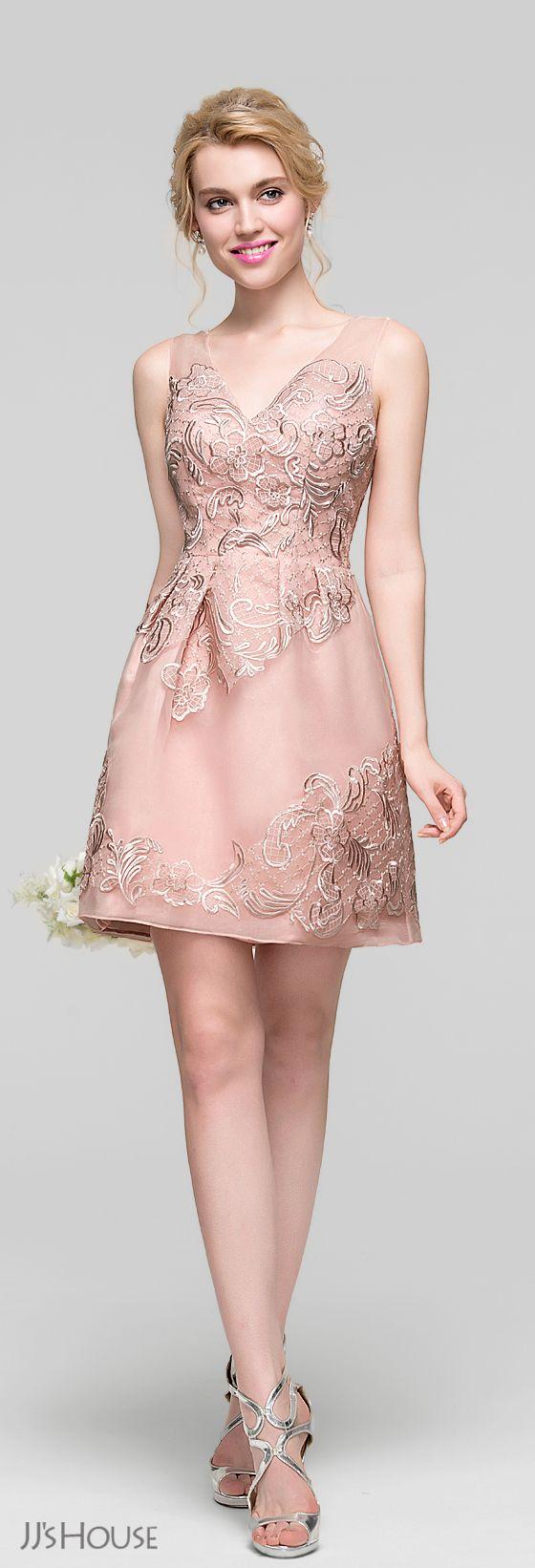 A-Line/Princess V-neck Short/Mini Organza Lace Bridesmaid Dress ...