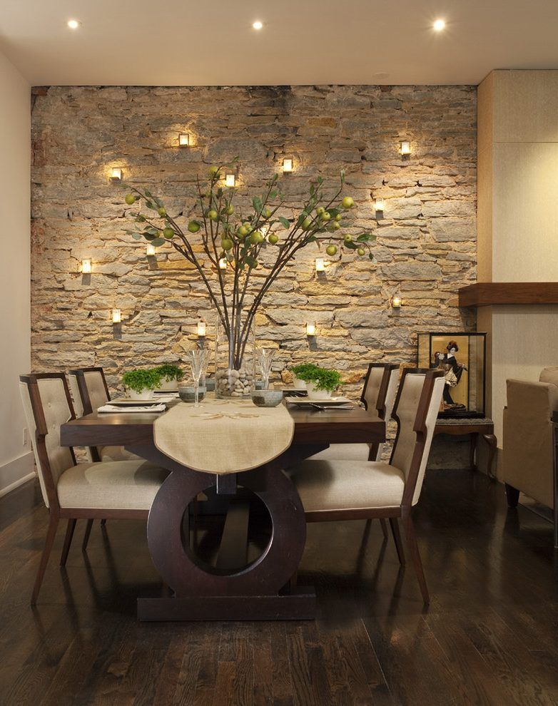 Old World Stone Contemporary Dining Room Remodeling Ideas With