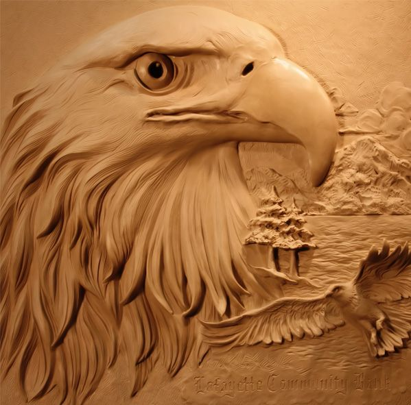 Relief Eagle Carving