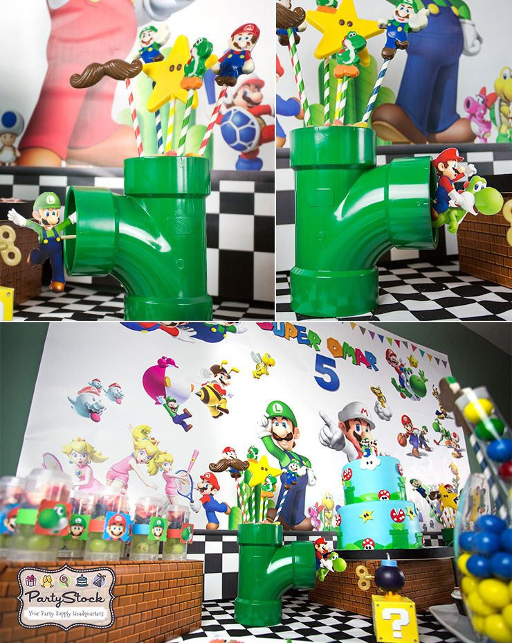 Blog super mario themed birthday party party supplies for Mario decorations
