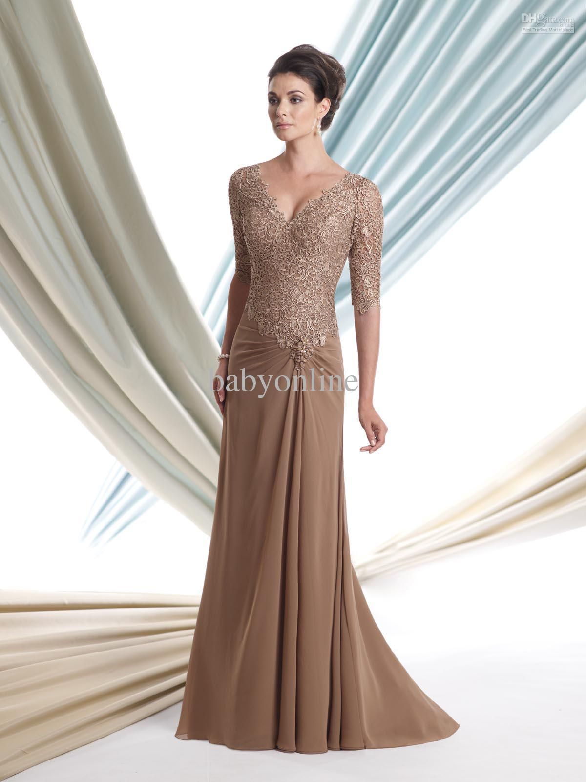 African Burgundy with Gold Appliques Modest Long Sleeves Prom ...
