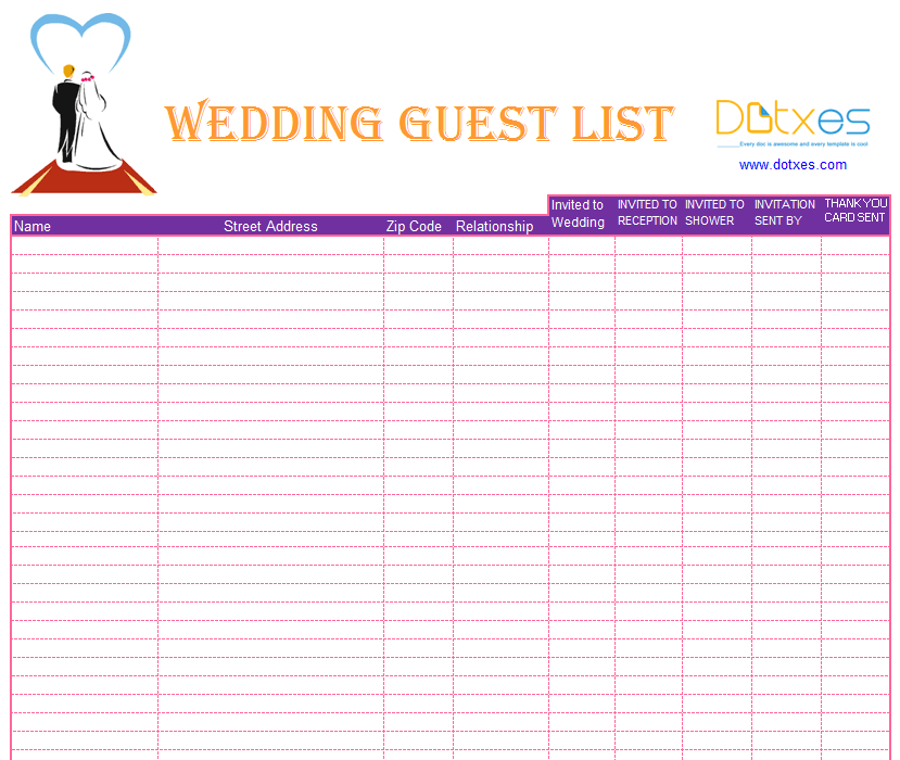 A Preofesional Excel Blank Wedding Guest List  Guest List Sample
