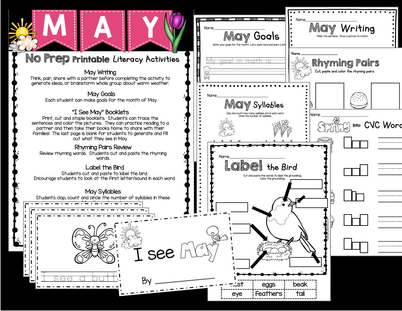 May In Kindergarten Freebies