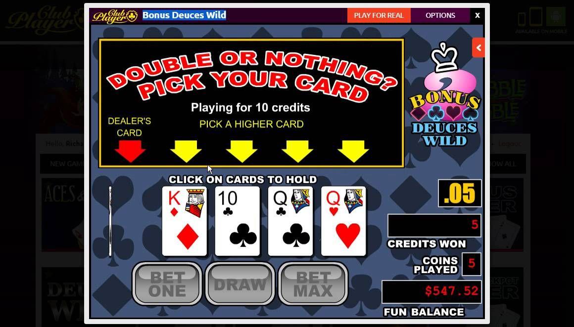 FREE Bonus Deuces Wild Club Players & Zero House Edge