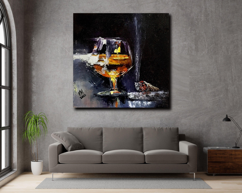 Glass Of Cognac Artwork Restaurant Interior Dinner Room Cigar Etsy Canvas Wall Art Floral Oil Paintings Painting
