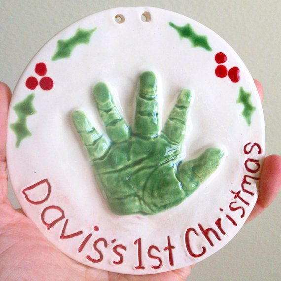 New Baby Handprint Ornament  Christmas Baby Ornament  First