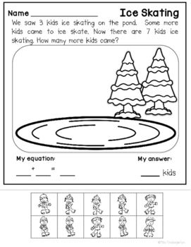 Addition and Subtraction Worksheets {Winter Themed Story Problems} #mathintherealworld