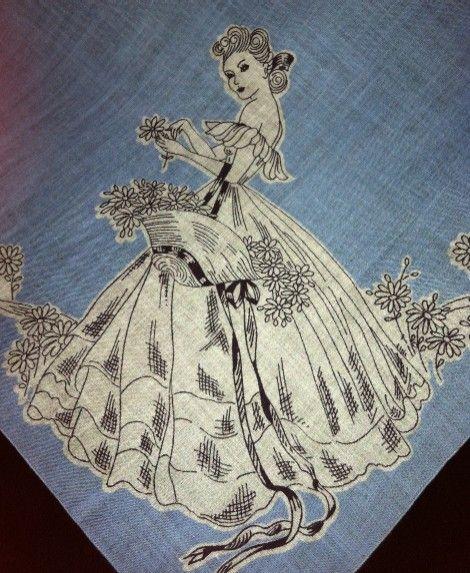 Vintage Southern Belle Ladies Handkerchief Hankie Sky Blue 1940's $14.99