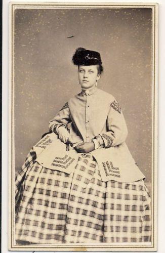 Civil War Uniform Influenced Dress W Chevrons Pretty Woman Hat Cdv
